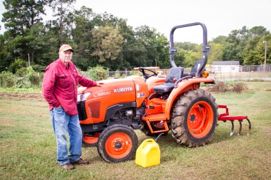 Larry Presley with his tractor